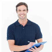 All We Ask Stock Image Man with Clipboard
