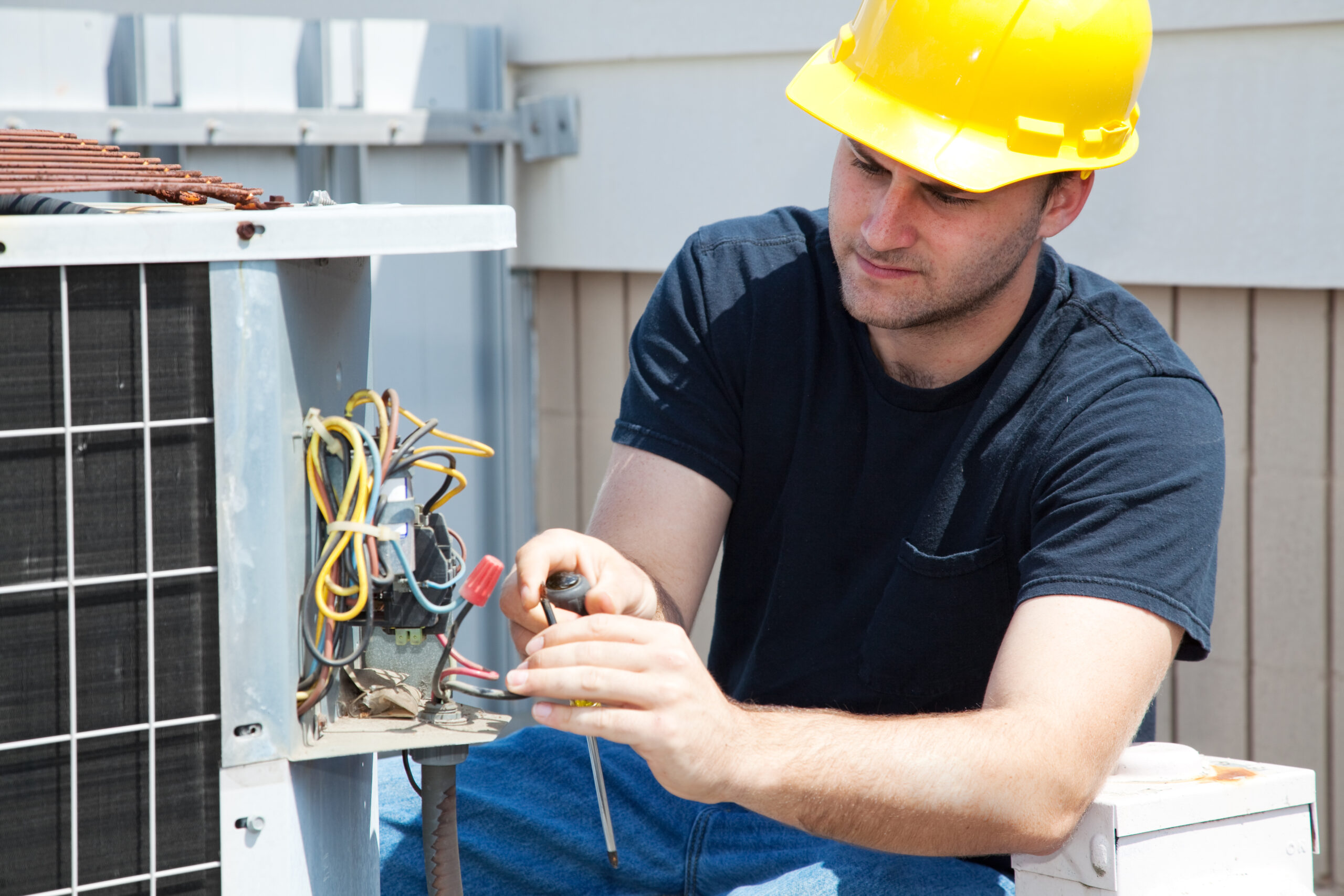 Man with Electrical Wires Stock